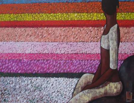 Girl In The Flower Fields | Painting by artist Suruchi Jamkar | acrylic | Canvas