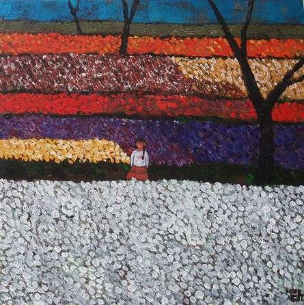 Girl In Flower Fields | Painting by artist Suruchi Jamkar | acrylic | Canvas