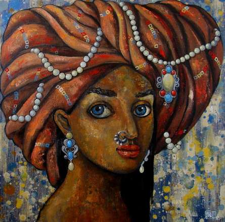 Expressionist Acrylic Art Painting title A Girl With Beautiful Eyes by artist Suruchi Jamkar