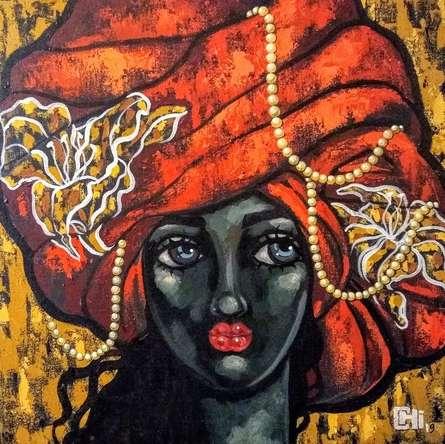 Portrait Acrylic Art Painting title Girl In A Turban 4 by artist Suruchi Jamkar
