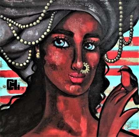 Portrait Acrylic Art Painting title 'Girl With A Red Bird' by artist Suruchi Jamkar