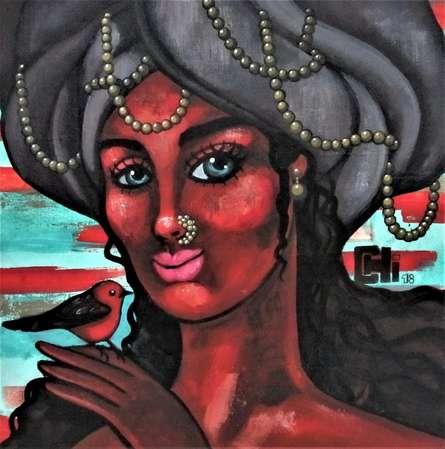 Portrait Acrylic Art Painting title 'Girl With A Red Bird 2' by artist Suruchi Jamkar