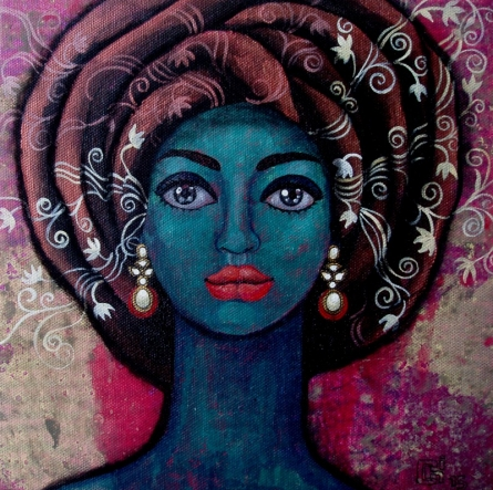 Figurative Acrylic Art Painting title 'Girl With Beautiful Thoughts' by artist Suruchi Jamkar