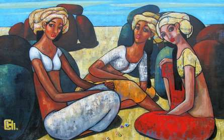 Figurative Acrylic Art Painting title 'Girls Playing Marbles 2' by artist Suruchi Jamkar