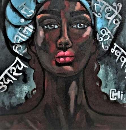 Portrait Acrylic Art Painting title Hymns 1 by artist Suruchi Jamkar