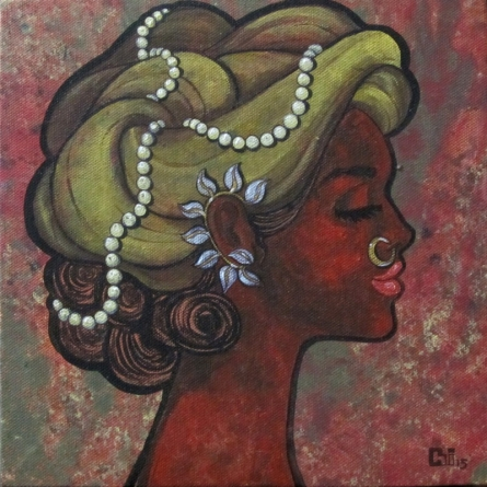 Figurative Acrylic Art Painting title 'Contentment' by artist Suruchi Jamkar