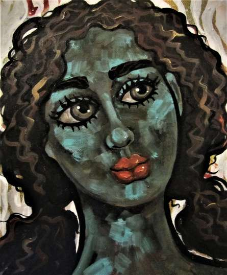 Suruchi Jamkar | Acrylic-oil Painting title Girl in the wind II on Canvas | Artist Suruchi Jamkar Gallery | ArtZolo.com