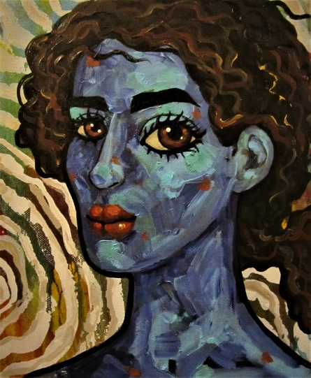 Portrait Acrylic-oil Art Painting title 'Girl in the wind III' by artist Suruchi Jamkar