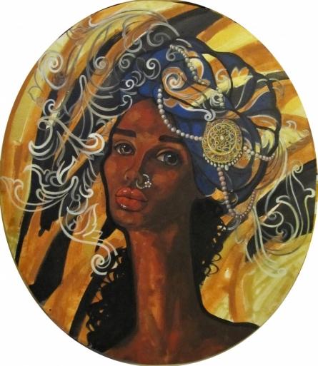 Reflection | Painting by artist Suruchi Jamkar | acrylic | Oval Canvas