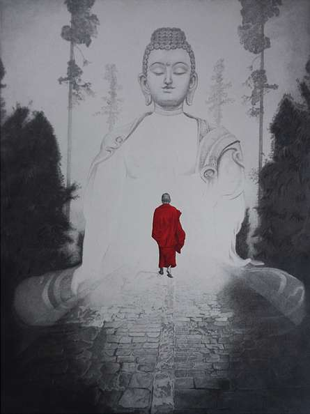 Religious Pen-ink Art Drawing title 'Gautama Buddha 2' by artist Dhananjay Thakur