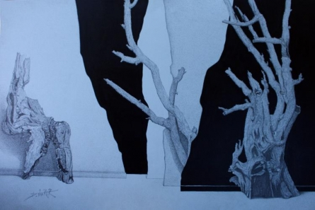 Life 5   Drawing by artist Dhananjay Thakur      ink   Canvas