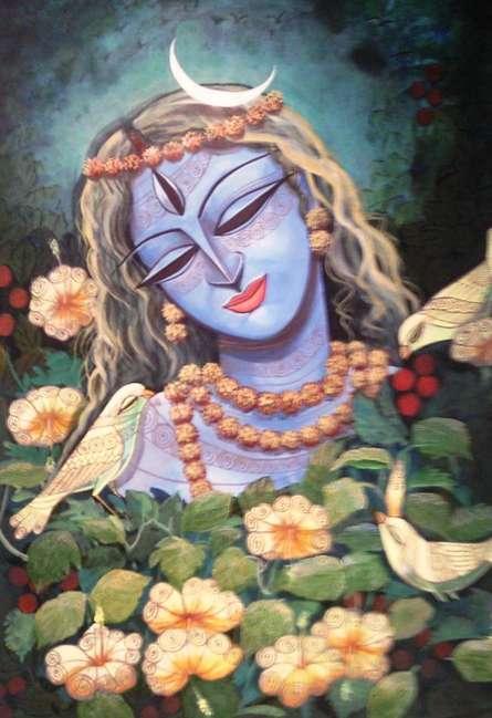 Figurative Mixed-media Art Painting title Devi III by artist DEVIRANI DASGUPTA