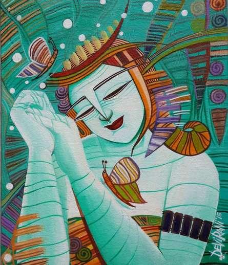 Figurative Acrylic Art Painting title Dream I by artist DEVIRANI DASGUPTA