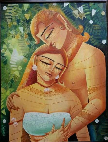 Figurative Acrylic Art Painting title Radha Krishna I by artist DEVIRANI DASGUPTA