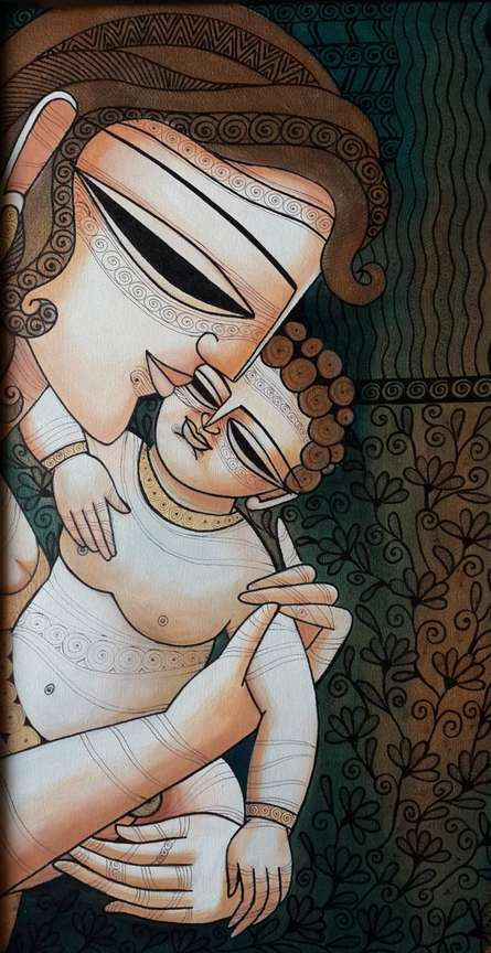Figurative Mixed-media Art Painting title 'Mother Child I' by artist DEVIRANI DASGUPTA