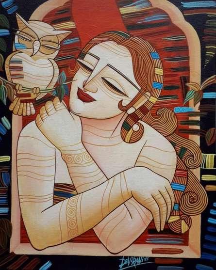Sleepless Nights | Painting by artist DEVIRANI DASGUPTA | acrylic | Canvas Board