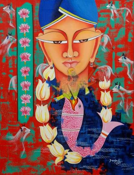 contemporary Acrylic-oil Art Painting title Avatar by artist Deepali Mundra