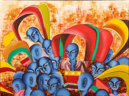 Deepali Mundra | Acrylic Painting title Celebration Of Colours on Canvas | Artist Deepali Mundra Gallery | ArtZolo.com