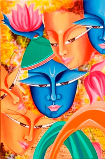 Figurative Acrylic Art Painting title Composition On Sree Krishna by artist Deepali Mundra