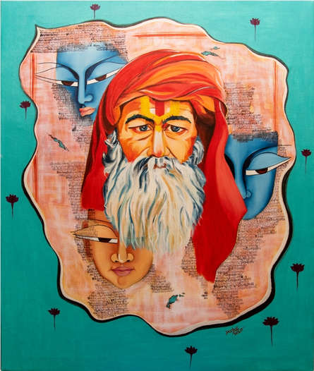 contemporary Acrylic-oil Art Painting title 'Devotation' by artist Deepali Mundra