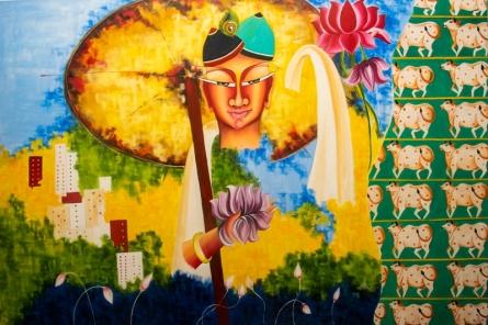contemporary Acrylic-oil Art Painting title Vamana by artist Deepali Mundra