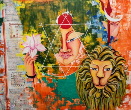 contemporary Acrylic-oil Art Painting title 'Shakti' by artist Deepali Mundra