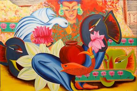 Deepali Mundra Paintings | Acrylic Painting - Composition on mahalakshmi by artist Deepali Mundra | ArtZolo.com