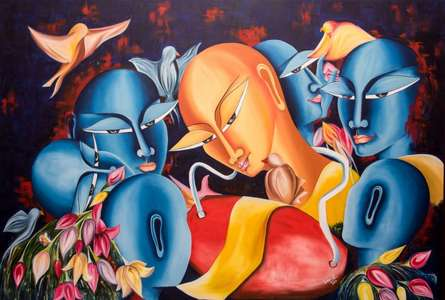 Figurative Oil Art Painting title 'Prepartion for some celebration' by artist Deepali Mundra