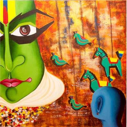 Figurative Acrylic Art Painting title 'Me & the mask' by artist Deepali Mundra