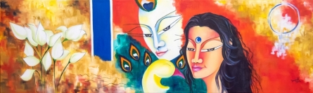contemporary Acrylic-oil Art Painting title 'Eternal love' by artist Deepali Mundra