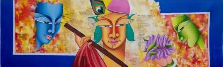 Deepali Mundra Paintings | Acrylic-oil Painting title Kanha by artist Deepali Mundra | ArtZolo.com