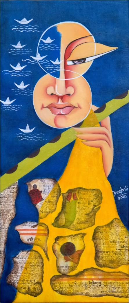 contemporary Acrylic-oil Art Painting title 'Life and The Dreams' by artist Deepali Mundra