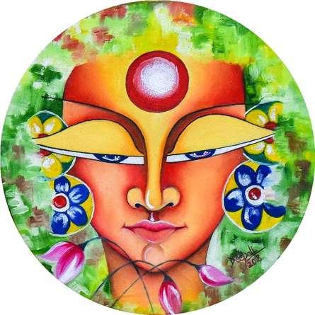 Deepali Mundra Paintings | Acrylic-oil Painting - Devi by artist Deepali Mundra | ArtZolo.com