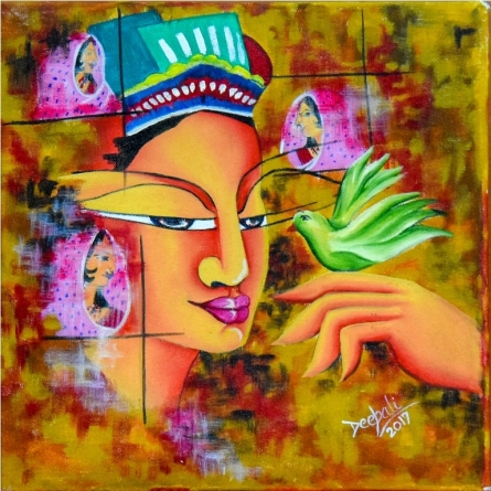 contemporary Acrylic-oil Art Painting title 'Lady with a Bird' by artist Deepali Mundra