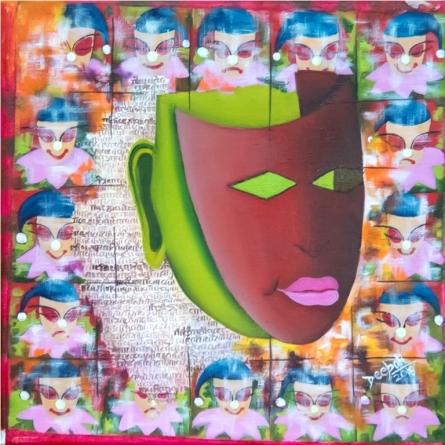 contemporary Acrylic-oil Art Painting title 'False Faces' by artist Deepali Mundra