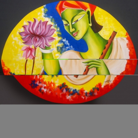 contemporary Acrylic-oil Art Painting title 'Kanha' by artist Deepali Mundra