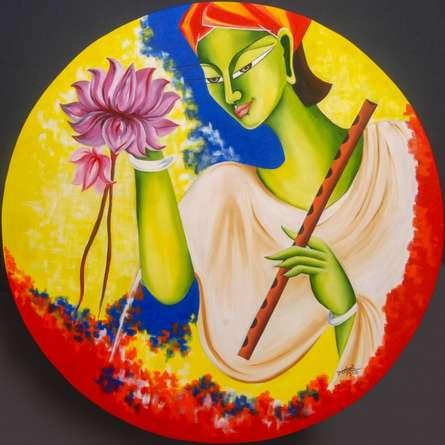 Kanha | Painting by artist Deepali Mundra | acrylic-oil | canvas