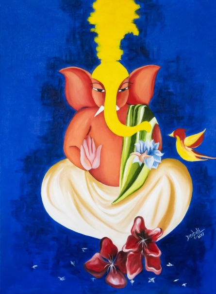 Figurative Acrylic-oil Art Painting title 'Ganesha' by artist Deepali Mundra