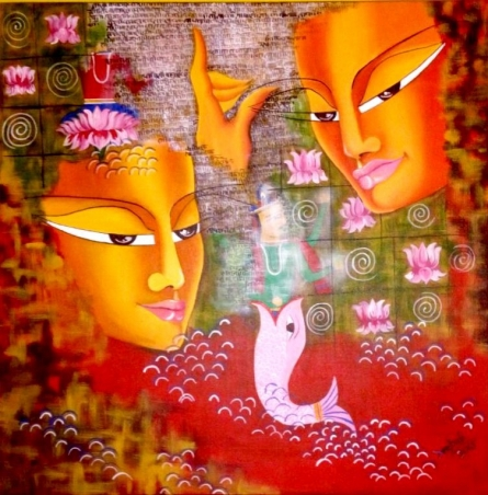 Shivohum 24 x 24in.acrylic & oil on | Painting by artist Deepali Mundra | acrylic | Canvas