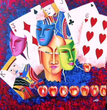 Expressionist Acrylic Art Painting title 'Gamble Of Life' by artist Deepali Mundra