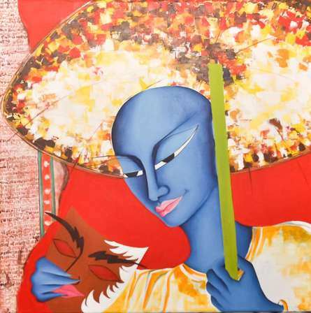 Figurative Acrylic Art Painting title 'Man With Mask ' by artist Deepali Mundra