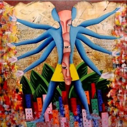 Figurative Acrylic Art Painting title 'Me Or Samaya Chakra' by artist Deepali Mundra