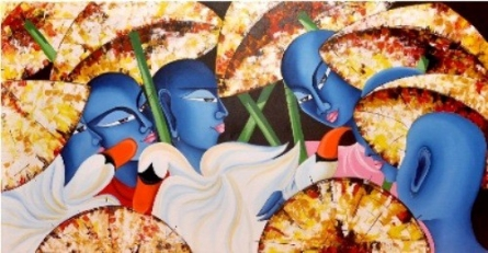 Monks Birds 24x48in. Acrylic Oil On Canv | Painting by artist Deepali Mundra | acrylic | Canvas