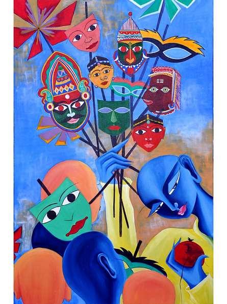 Figurative Acrylic Art Painting title 'Mukhote ' by artist Deepali Mundra
