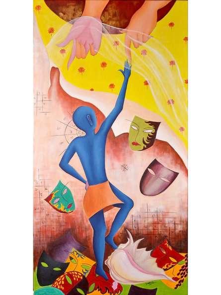 Figurative Acrylic Art Painting title Nirvana 1 by artist Deepali Mundra