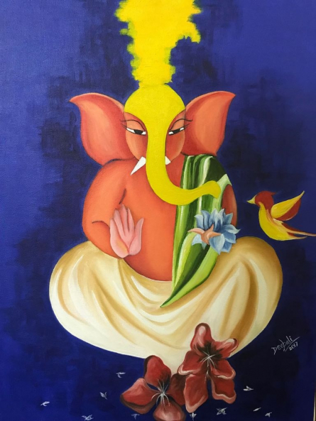 Lord ganesha | Painting by artist Deepali Mundra | acrylic-oil | Canvas