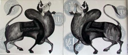The Bull Pair | Painting by artist Vivek Kumavat | acrylic | Canvas