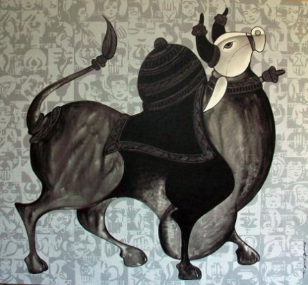 Animals Acrylic Art Painting title 'Bull Looking Up' by artist Vivek Kumavat