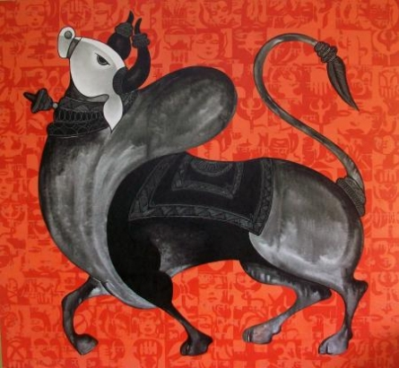 Animals Acrylic Art Painting title 'The Orange Bull' by artist Vivek Kumavat