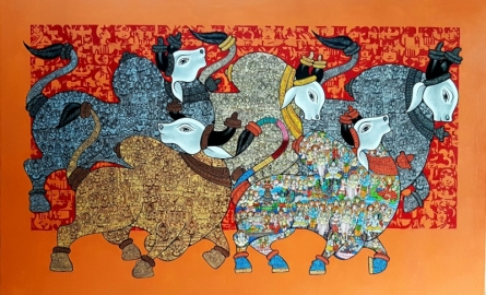 Dancing Nandis 2 | Painting by artist Vivek Kumavat | acrylic | Canvas